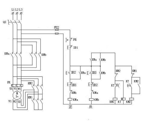 接触器继电器控制 电机正反转和高低速的控制电路图