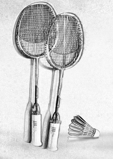 素描羽毛球和球拍图