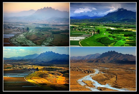 求一组四季照片,相同角度,相同地点,相同人物,春夏秋冬拍的四张照片图片