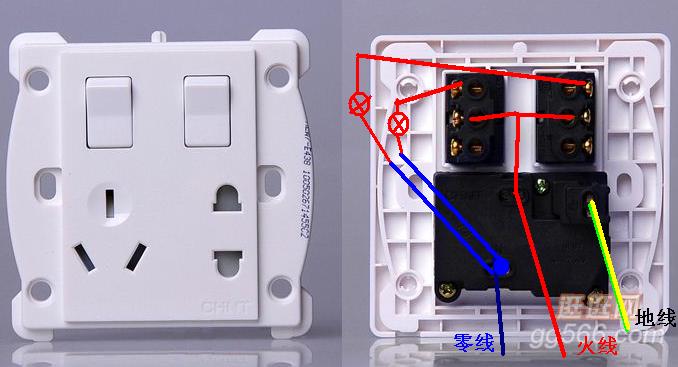 求双开双控带插座的接线图.两个一样的开关 ,每个开关