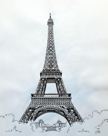 谁有像这个巴黎铁塔的素描图的大图? 我只要大图. 谢谢了.