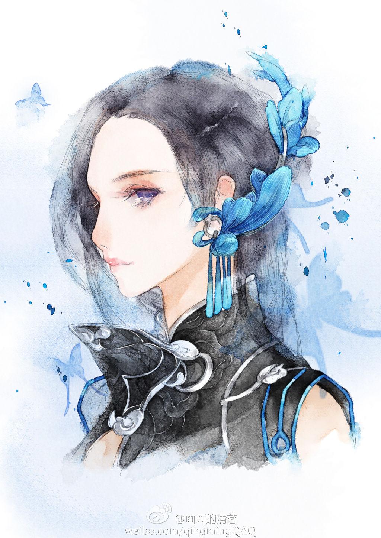 女人优雅水彩手绘