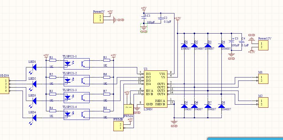 51单片机开发板与l298n电机驱动问题 50 找的网上的电机驱动板原理图