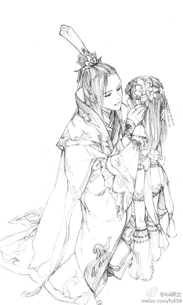 求古代动漫情侣图