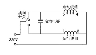 单相电机点动控制正反转实物接线图