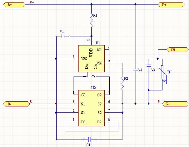 锂电池保护板的电路图与工作原理