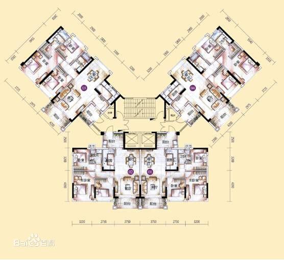 蝶式结构一般是一梯六户,采光通风相对塔式要好一些,但比板式要差图片
