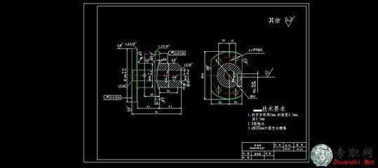 ca6140车床法兰盘CAD零件图:  CA6140是一种,是在原C620基础上加以改进而来,C代表车床 A代表改进型号 6代表卧式 1代表基本型 40代表最大旋转直径,是机械设备制造企业的是所需设备之一。 CA6140普通卧式车床的组成及功能 (1)主轴箱。它固定在机床身的左端,装在主轴箱中的主轴(主轴为中空,不仅可以用于更长的棒料的加工及机床线路的铺设还可以增加主轴的刚性),通过夹盘等夹具装夹工件。主轴箱的功用是支撑并传动主轴,使主轴带动工件按照规定的转速旋转。 (2)床鞍和刀架部件。它位于床身的中部