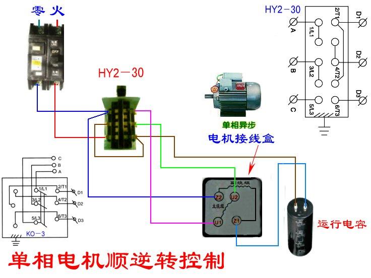 hy2倒顺开关和单相单电容电机接线图