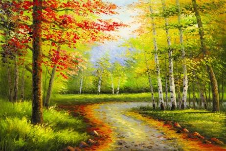 秋天城市彩色风景装饰画