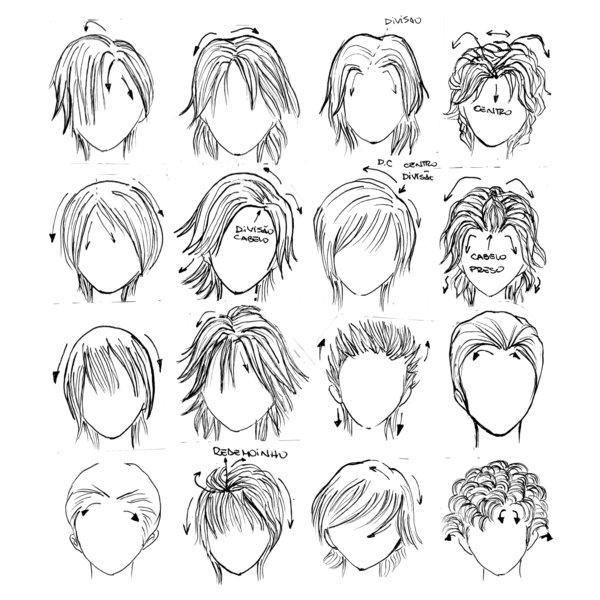 求动漫人物的眼睛和头发画法,不要纯文字.