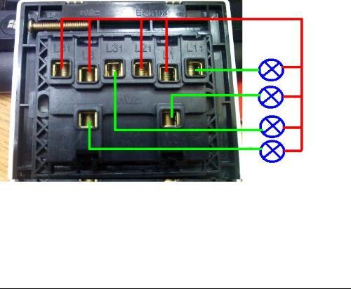 一灯四控开关接线实物图