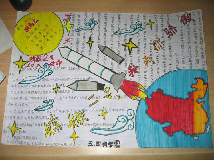 关于中国探月之旅为主题的手抄报要有图片尽量详细