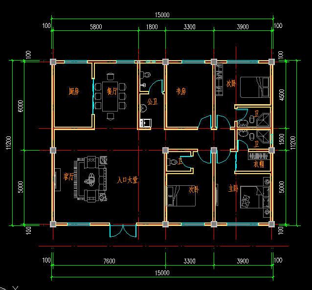长16米×宽9米农村豪宅设计图南北方向长,东西方向宽图片