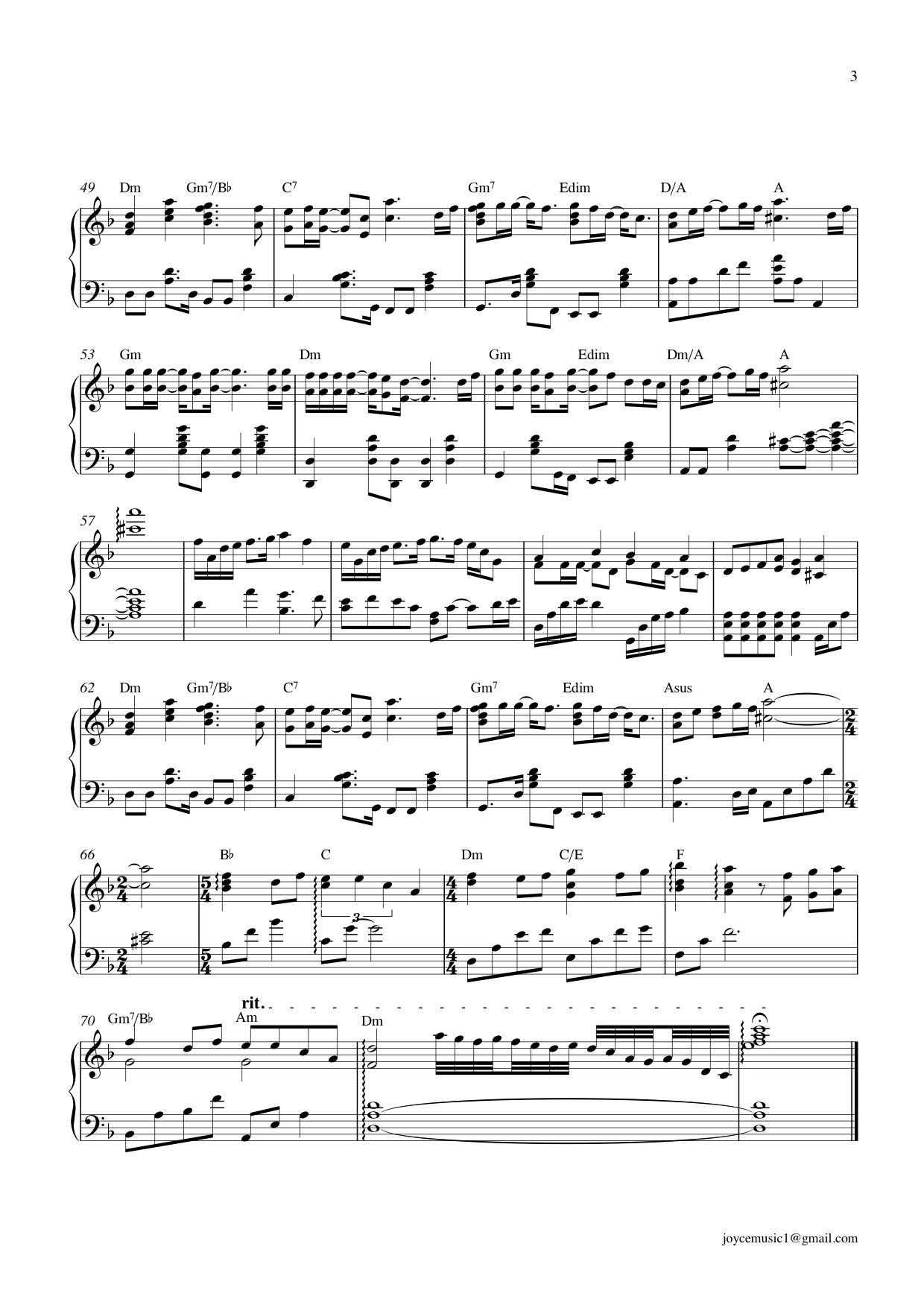 求张学友 情已逝钢琴琴谱(五线谱)