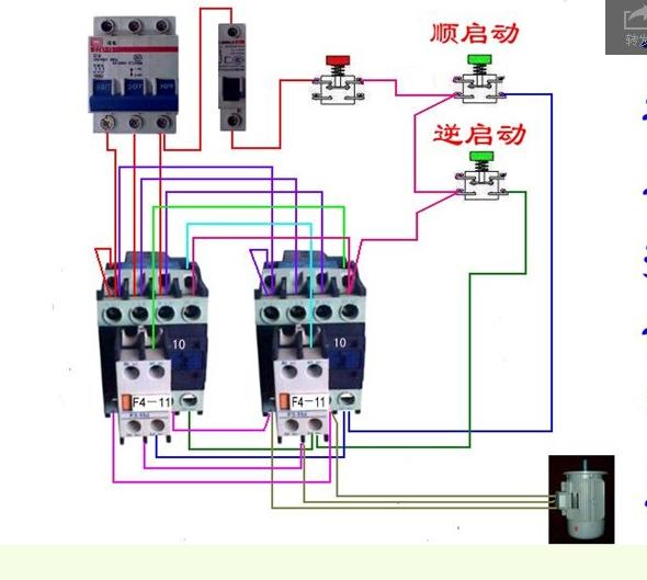 谁有正泰交流接触器接电机正反转的接线实图谢谢.不接