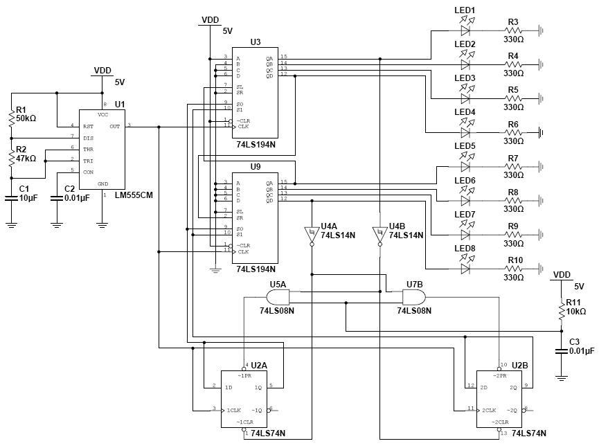 数字电路设计:八位双向流水灯!
