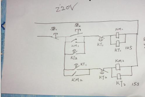 用两个时间继电器怎么控制两个电磁阀循环动作.