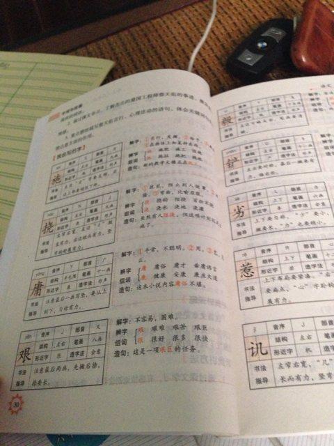 这些字的两个词部首,音节,形近字组词,近反义词,第五课,六年级,拜托