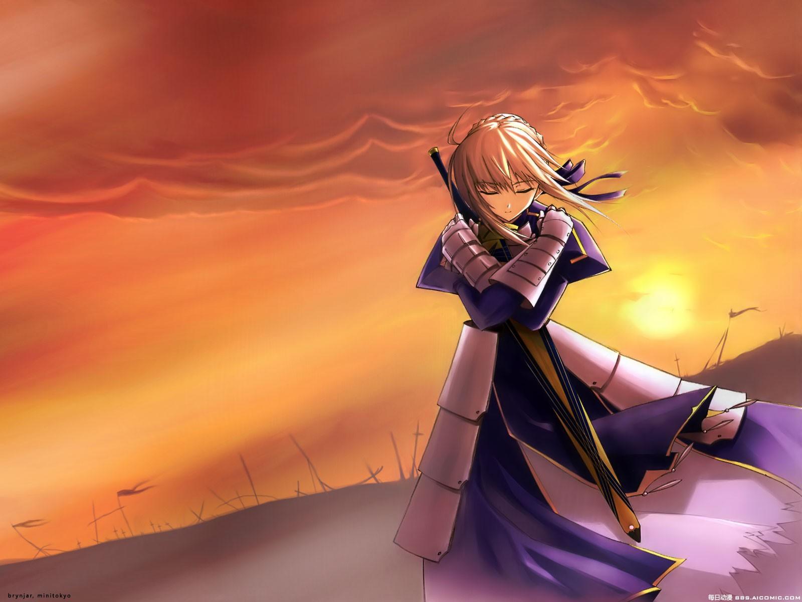 黄昏动漫吧福利_谁有一张图片是黄昏一个动漫美女站在草丛中双手压着剑,画面中有\