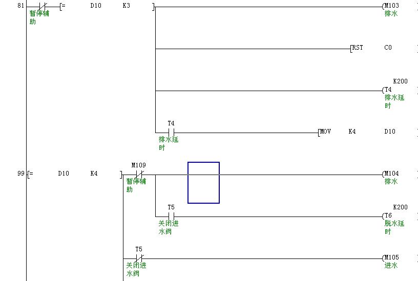 洗衣机的全自动控制(用三菱plc) 梯形图,输入输出分配