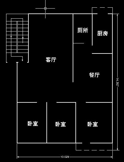 200平方左右三室两厅cad平面图