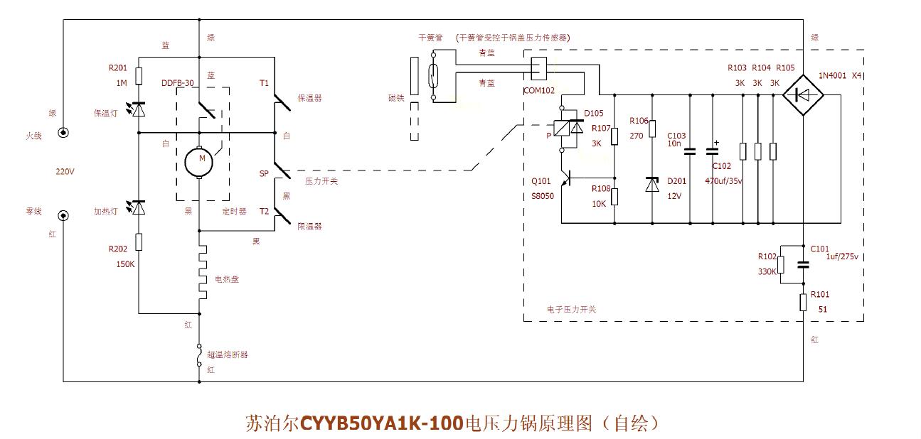 苏泊尔电压力锅cyyb50ya1k_100 电路图