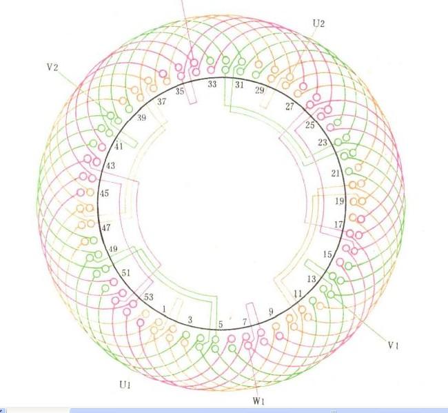 求54槽6极双层2路进火电动机接线图