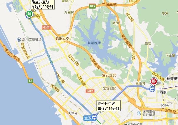 从深圳机场到深圳市南山区西丽街道同发路丽雅苑的行车路线图片