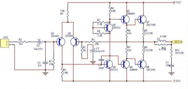 求a1941 c5198对管的简单的功放电路图 越简单越好