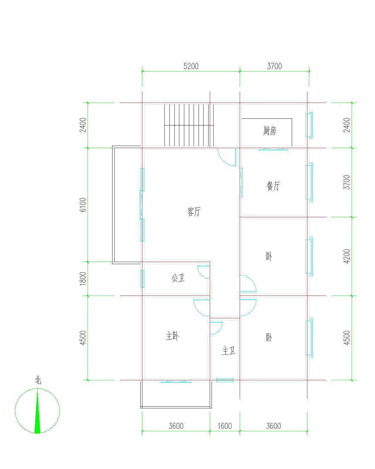 求农村二层半楼房屋设计图 一层四间 长(东西向)14.4米宽(南北向)10.图片