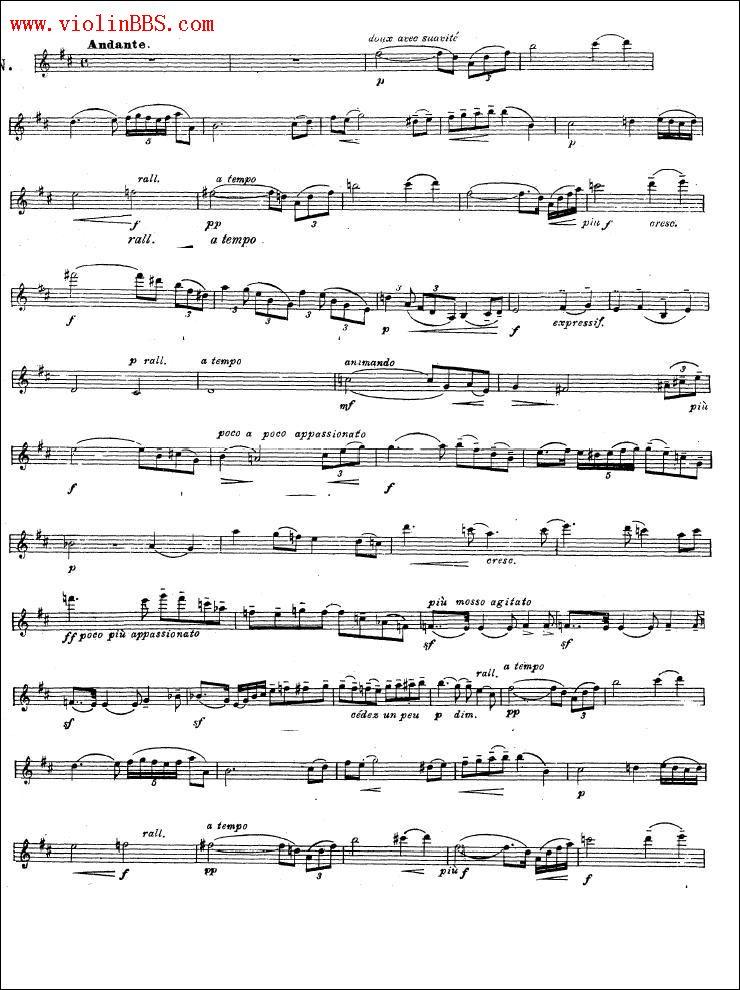 求沉思曲小提琴谱