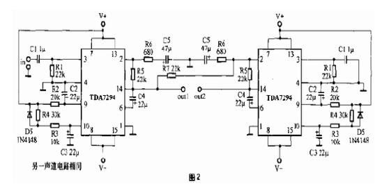 70 w 的输出功率;②, 使用 两片 tda 7294 ,组成 btl 功放电路, 土 25