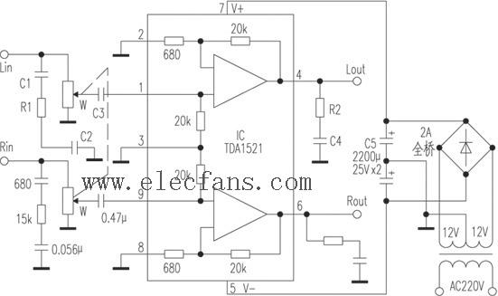 自制tda1521功放通电试音后效果有问题(有电路图)