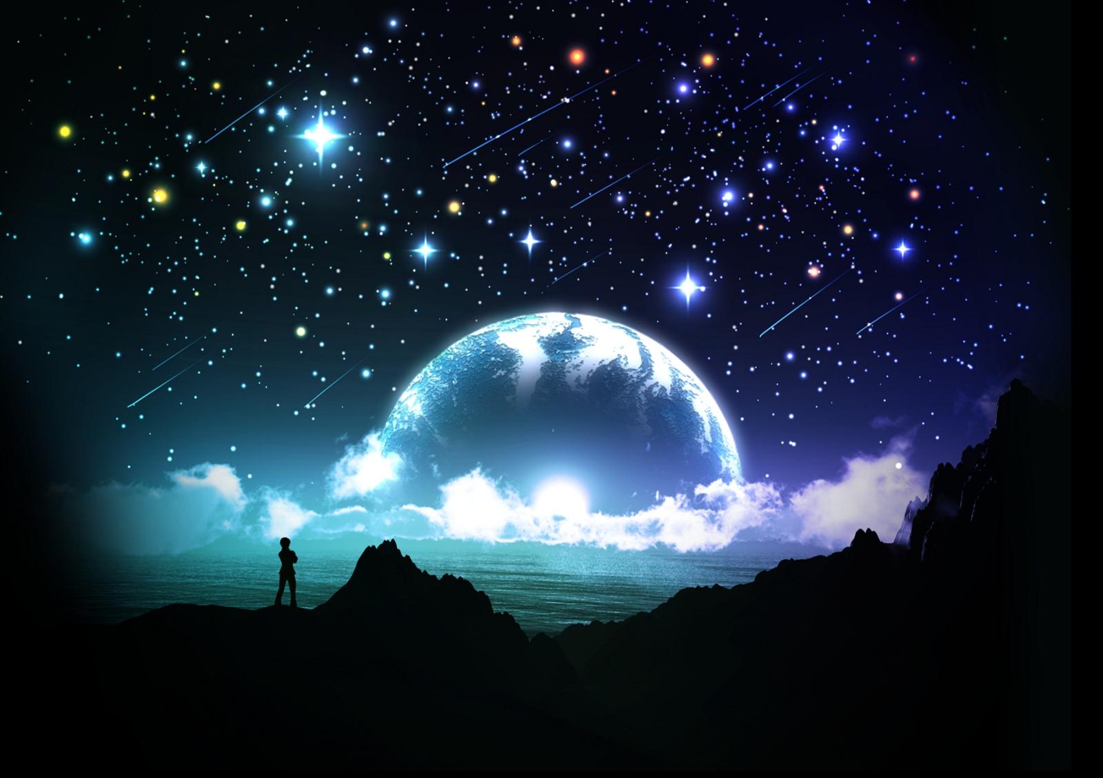 手绘仰望樱花星空