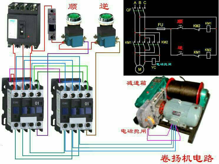 行程开关在两个接触器直接的作用,才能做图,用按钮开关还是旋钮开关等