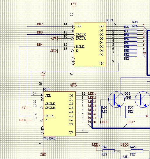 求串转并电路设计电路图?要求sn74hc595级联,16路输出