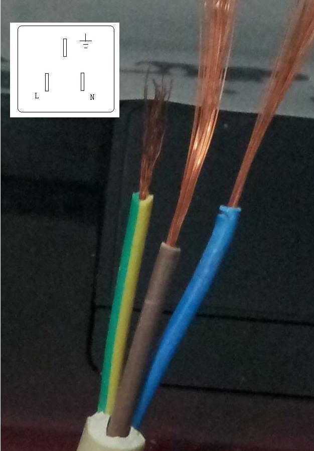 接线板插头坏了,需要换个插头,我不知道线该怎么接,请教大家,图为线的