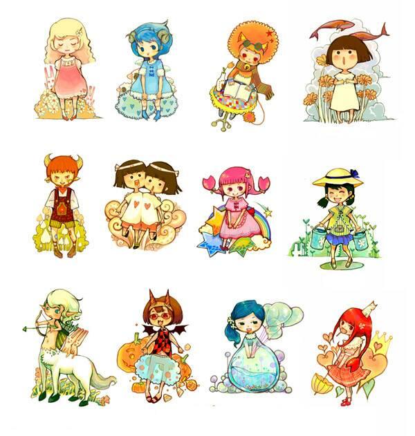 需要十二星座的q版人物动漫图……性别都是女滴,12个哦,求大神帮忙!