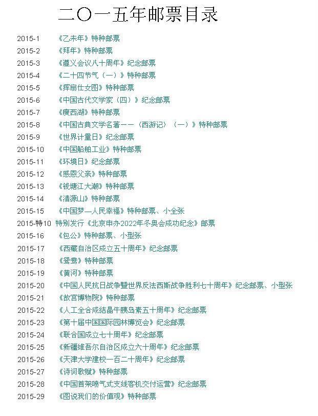 目录查得:国家邮政总局在2015年没有发行镶金边的五十六个民族大团结