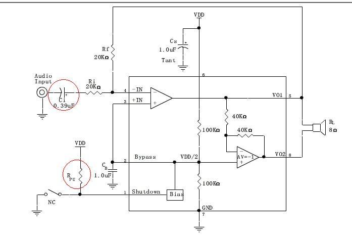(8002功放ic的典型电路图) 1:上面我画红圈
