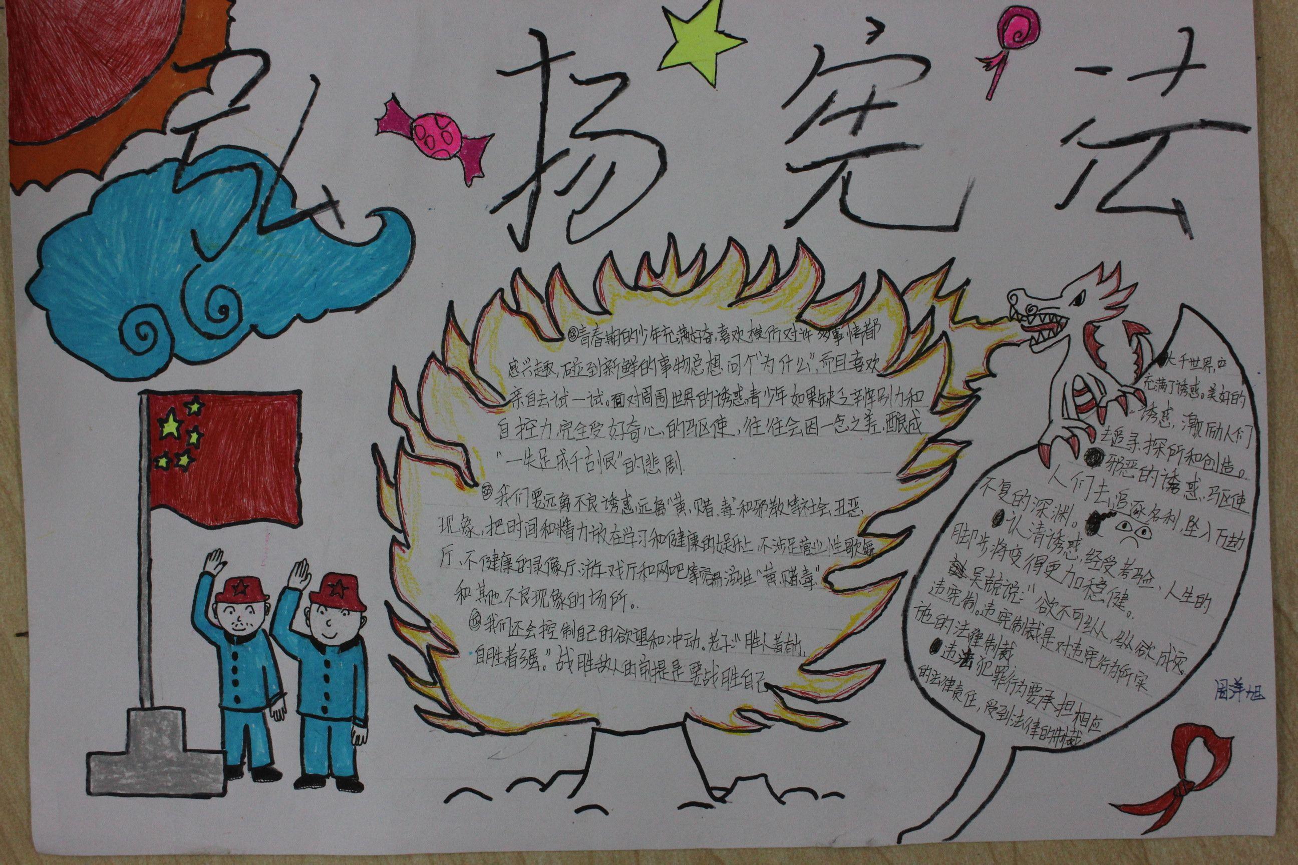 用a3硬纸画有关宪法的手抄报应该怎么画怎么画