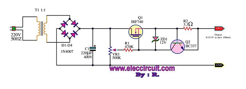 求0-100v分立元件直流稳压电源有短路保护电路图!