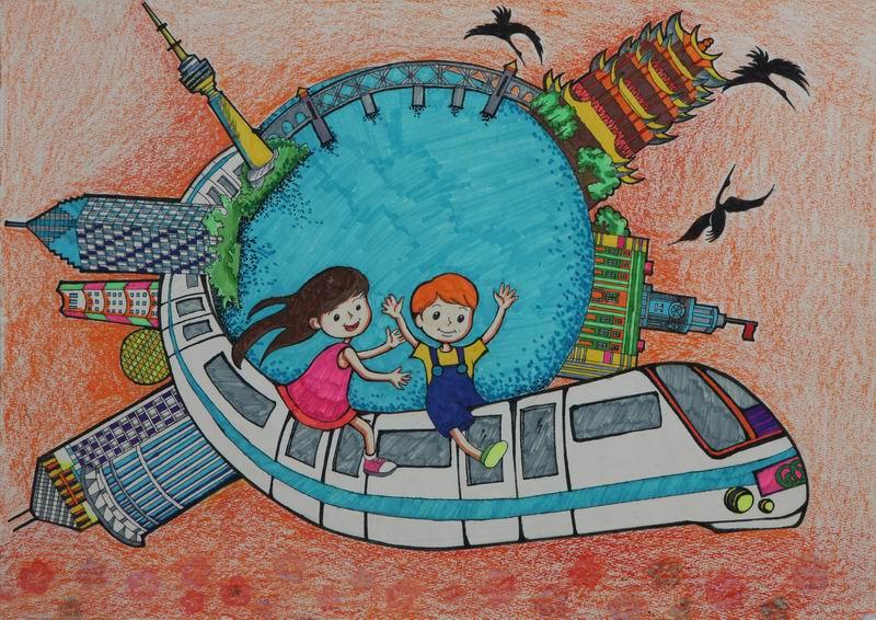 中国梦 民族魂 阳光下成长 儿童画 创想未来
