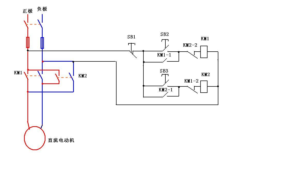 二个中间继电器控制直流电机正反转电路图