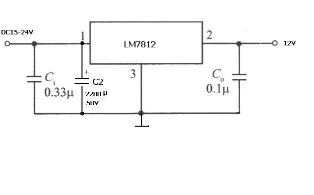 dc15-24v输入12v1a输出的 7812稳压电源电路图和元件参数图片