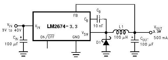 12v转成3.3v用lm2674,电路图什么样的?