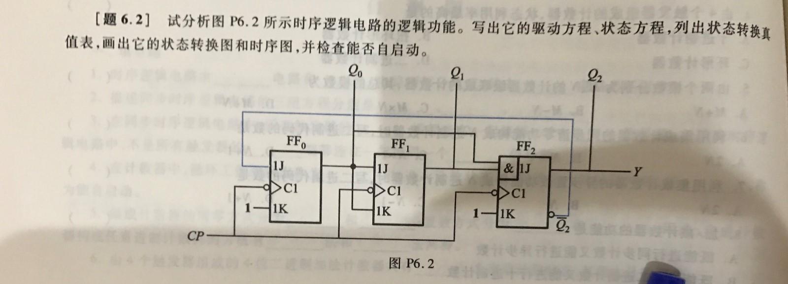 试分析所示时序逻辑电路的逻辑功能
