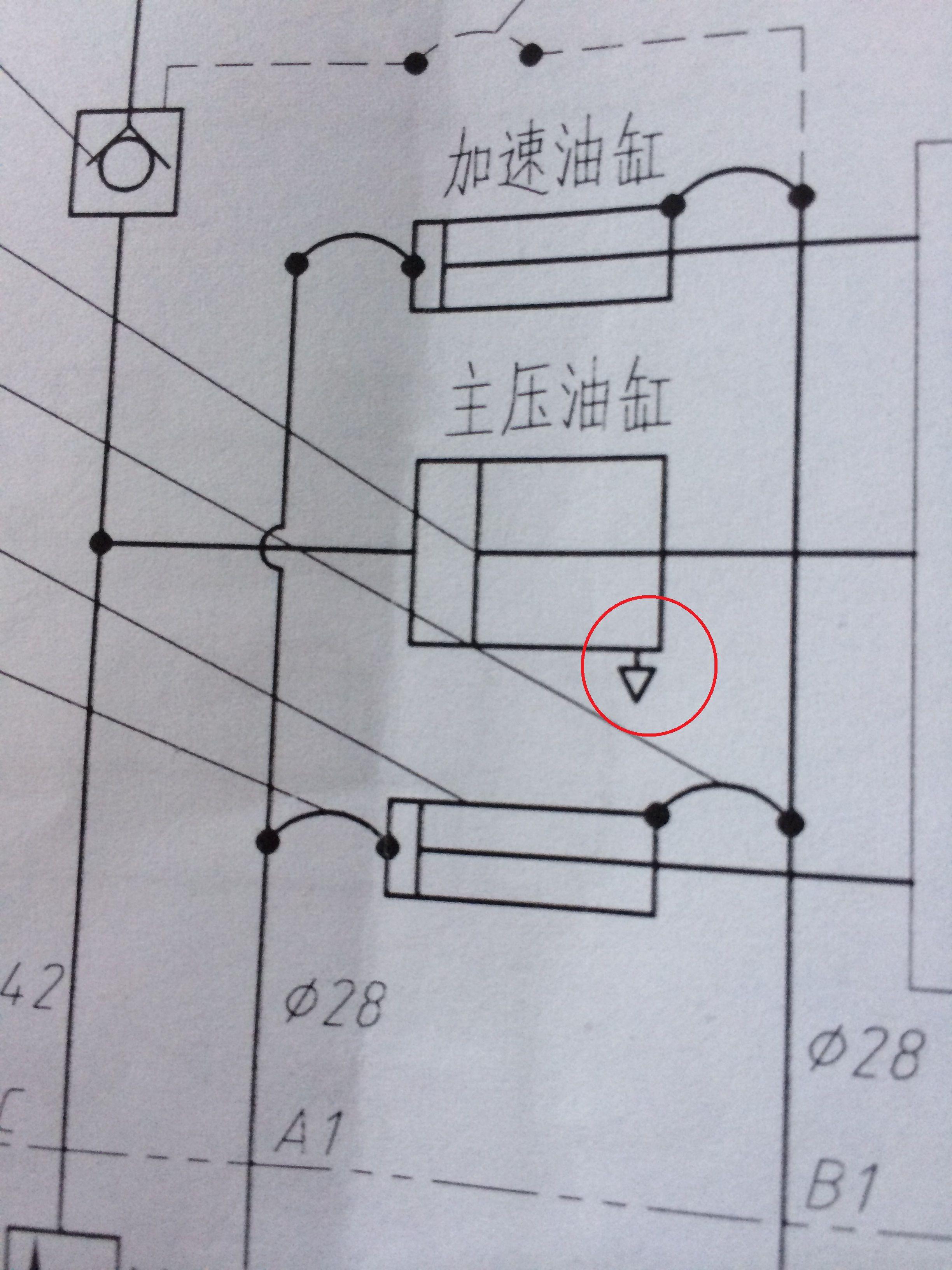 如图,液压缸红色线圈中,三角形符号什么意思图片