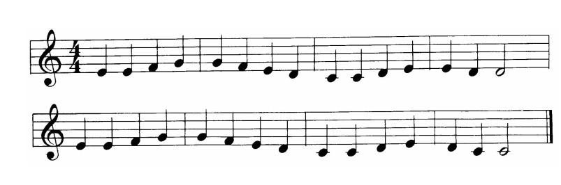 老师让把欢乐颂的简谱画成五线谱,1=c,要怎么画